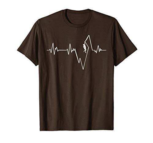 Bergsteiger Klettern Kletterer EKG T Shirt Herzschlag
