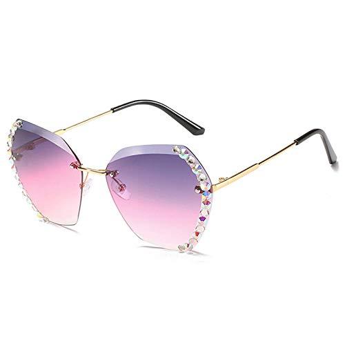 Sonnenbrille Herren Strass Sonnenbrillen Damen Mode Randlose Brillen Trend Shades Sonnenbrillen Weibliche Bunte Brillen Uv400 Gold-Lilapink