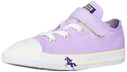 Converse Girls' Chuck Taylor All Star Unicorn Print Velcro Low Top Sneaker, Lilac Mist/Bright Violet/White, 5 M US Toddler