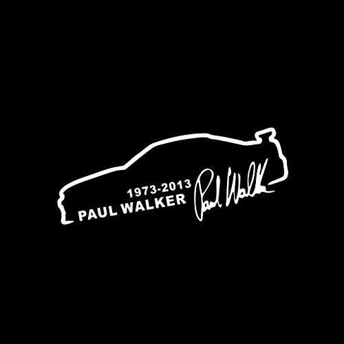 FKY 8 x 6 cm Aufkleber fürs Auto Motorrad Laptop Kühlschrank,Gedenken Paul Walker (Weiß)