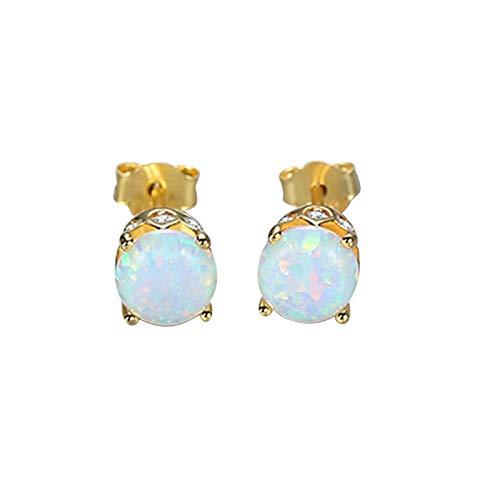 Beydodo Pendiente Mujer Plata de Ley 925,Pendientes Para Mujer Oro Azul Redondo Ópalo Oro Azul/Plata Azul