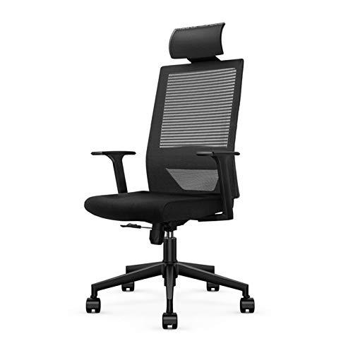 Silla oficina ejecutiva Silla de escritorio de oficina, silla de oficina ergonómica de malla negra de alta malla con brazos T, silla giratoria con soporte lumbar y reposacabezas ajustables Silla y esc