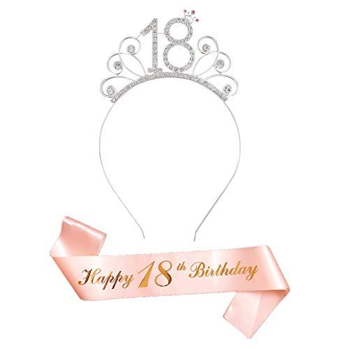 Or Rose 18 Ans Joyeux Anniversaire Echarpe Deguisement et 18 Bandeaux Couronne Strass pour 18 Ans Anniversaire Décorations Filles Cadeau