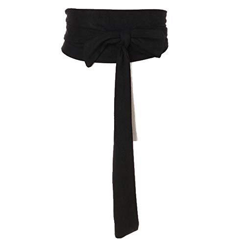 YM YOUMU Damen Breite Taille Gürtel Obi Taillenband Boho Band selbst Tie Wrap Wildleder für Kleid Hemd Longtops (Schwarz)