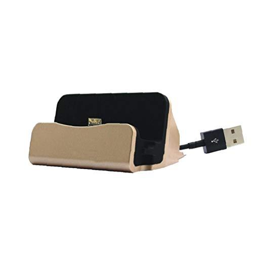 Base de carga para teléfono compatible con iPhone X 8 7 6, cable USB, base de carga, base de carga, color dorado, accesorios de comunicación digital