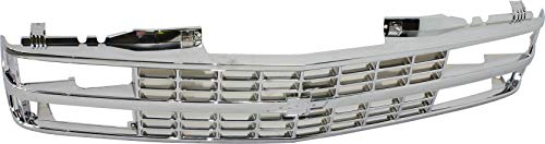 Grille Assembly Compatible with 1988-1993 Chevrolet K1500 Chrome Shell and Insert with Quad or Composite Headlights