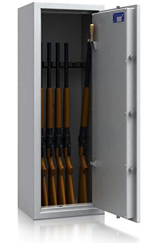 SafeHero Waffenschrank Klasse 0/N EN 1143-1 Secureo Hawk 7 | Schlüsselschloss | für 7 Langwaffen, Kurzwaffen & Munition | 1250x450x350 (HxBxT mm) | 122 kg