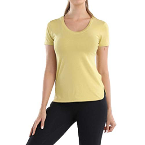 N\P Ropa de yoga de verano transpirable superior ropa de fitness al aire libre de secado rápido delgado ejercicio de secado rápido de manga corta niña