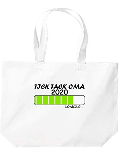 Shirtinstyle Stoffbeutel Jute, Tick Tack Oma Loading 2020, Logo, Spruch, Verwandschaft, Mann, Frau, Ehe, Liebe, Motiv, Farbe Weiss