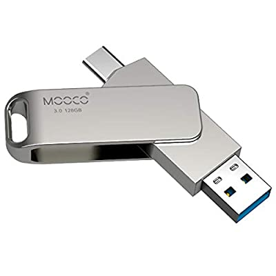 MOOCO 128GB USB C Dual Flash Drive, USB3.0/3.1 Type C High Speed Thumb Drive Memory Stick Compatible with Samsung Galaxy, Android Smart Phone, Tablet, Pixel, PC Devices (128GB, 2 in 1(Type-C/USB3.0))