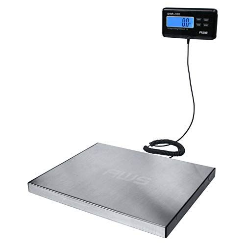 American Weigh Scale Ship Series Digital Heavy Duty Shipping Postal Scale, Large Platform Stainless Steel, 330lbs X 0.1lbs (AMW-SHIP330)