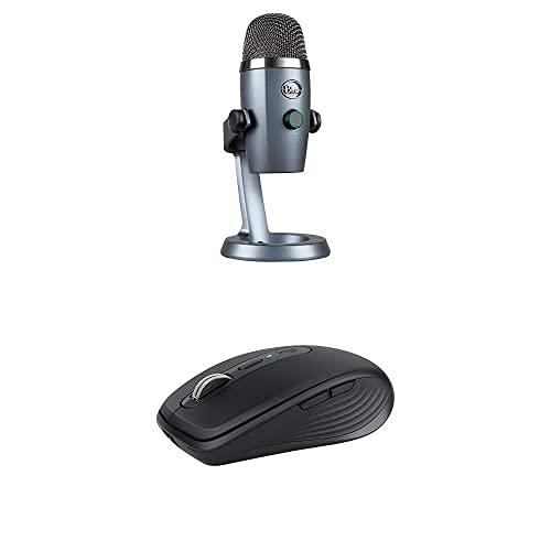 Blue Microphones Yeti Nano Premium Microphone USB Double Diagramme Condensateur Avec Blue+MX Anywhere 3, Souris Compacte et Puissante- Sans Fil, Défilement Magnétique