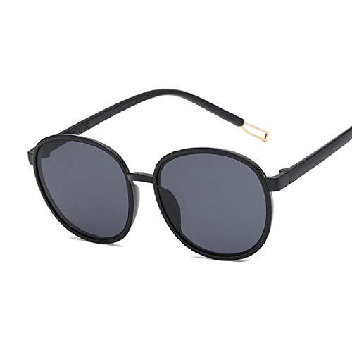 whcct Gafas de sol redondas Mujeres Gafas de sol ovaladas de gran tamaño Gafas de mujer Retro Color negro
