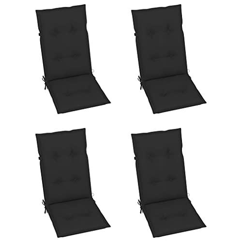 vidaXL 4X Gartenstuhl Auflage für Hochlehner Kissen Sitzkissen Stuhlkissen Polster Stuhlauflage Sitzauflagen Sitzpolster Schwarz 120x50x7cm