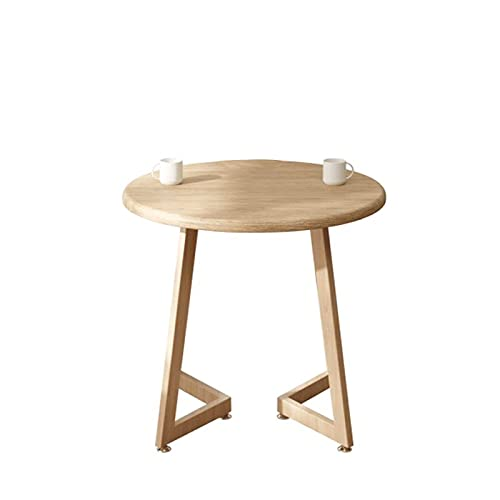 Renovation House Round Coffee Table Kitchen Dining Table Balcony Snack Table Coffee Shop High Table Reception Table Sofa End Table with V shaped Metal Base and Density Board Top(Size:60*60*75CM