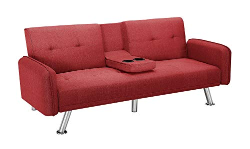 Convertible Futon Sofa Bed with Armrest, Modern Twin Size Loveseat Sleeper Sofa Recliner Couch for Living Room with Cup Holders and Metal Legs (Red)