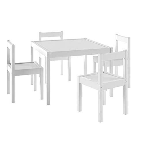 WALLNIURE Kid's Room Décor Square Activity Table and 4 Chairs Wood White