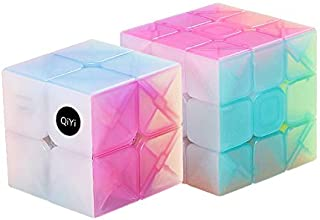 QiYi Warrior Magic Cube 魔方 (日本語6面完成攻略書・専用スタンド付き) 3x3x3 競技専用キューブ 回転スムーズ 立体パズル 世界基準配色 ストレス解消 脳トレ ポップ防止 (ゼリー 魔方 2個)