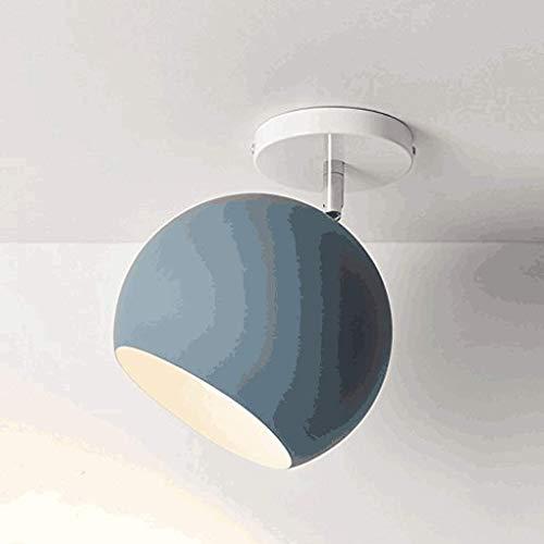 MTSBW Nordic Macaron la lámpara de Techo lámpara de Techo Buhardilla Dormitorio Creativo Corredor Armarios Bella y generosa D20CM * H24cm E27 40W máximo, Azul [A Energía]
