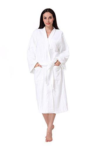 Acanva Women's & Men's Terry Robe Plush Cotton Spa Kimono Bathrobe, White