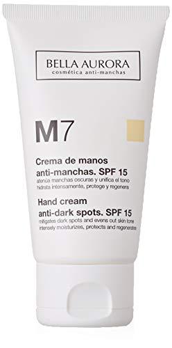 Bella Aurora M7 Crema de Manos Anti-Manchas, Anti-edad, Tratamiento Reparador Hidratante, Despigmentante, Protege y Regenera SPF 15, 75 ml
