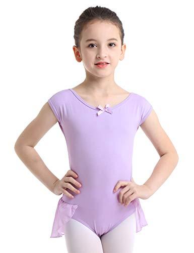iiniim Girls Cap Sleeve Gymnastic Ballet Dance Leotard Bodysuit Top Ruffle Tutu Skirt Ballerina Dancewear Costume Lavender 3-4