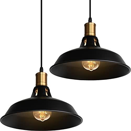 Lámpara Colgante Vintage, TOKIUS Ø27cm Lámpara de Techo Retro de Metal Industrial...