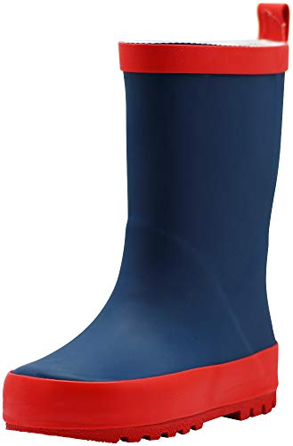 NORTY Waterproof Rubber Rain Boots for Kids - Boys and Girls Solid & Printed Rainboots for Toddlers and Kids blue Size: 3 Little Kid