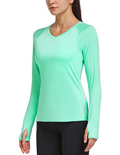 BALEAF Women's Long Sleeve Workout Shirts Thumbholes Moisture Wicking Running T-Shirts Exercise Hiking Mint Green L
