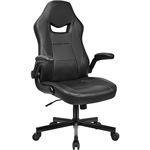 BASETBL Bürostuhl ergonomischer Schreibtischstuhl mit hoher Rückenlehne und hochklappbarer Armlehne höhenverstellbarer Gaming-Stuhl Schwarz