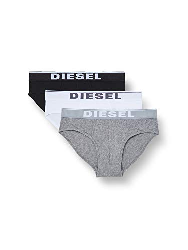 Diesel UMBR-ANDRETHREEPACK, Slip Uomo, Multicolore (Dark Grey Melange/Black/Bright White E3843-0Jkkb), L, Pacco da 3