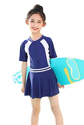 Kayiyasu 水着 こども 女の子 スクール水着 ワンピース セパレート 2点セット キッズ 水着 可愛い スイムウェア 子供 小学生 7-14歳 110 120 130 140 150 160cm(L ネイビー)