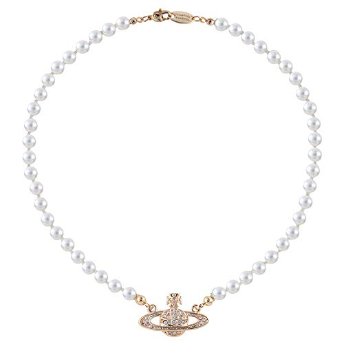 BEAUTYBIGBANG Damen Kette Saturn Planet Halskette White Pearl Bead Kristall Rhinstone Saturn Planet Retro Diamant Saturn Perlenkette Weibliches Temperament Planet Exquisite Schlüsselbein (Gold)