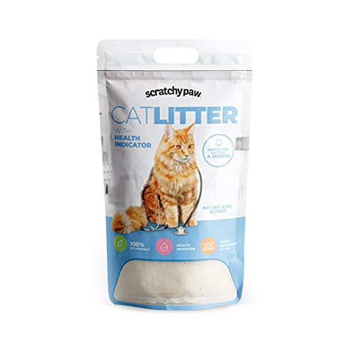 Alpha Paw Cat Litter with Health Indicator, Odor Eliminating, Low Tracking Natural Cat Litter, Non-Clumping, Dust Free, Non-Stick, and High Absorption Unscented Kitty Litter