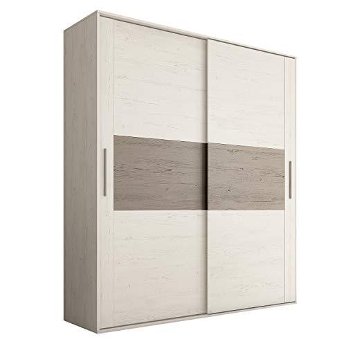 Armario 2 Puertas Correderas para Dormitorio y Habitación, Modelo Priego Acabado en Color Andersen Pino y Gris, Medidas: 180 cm (Largo) x 207,6 cm (Alto) x 55 cm (Fondo)