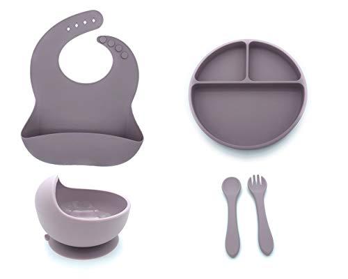 Set de vajilla de silicona para bebes. Conjunto de Babero, Cuenco, Cubiertos y Plato antideslizantes perfectos para alimentacion de bebes (Lila)