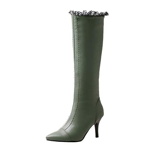 NINGSANJIN Damen Boots Gefüttert Spitze Stiefeletten Schnür Stiefel (Grün,39)