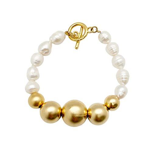 NIEVOS JEWELRY Pulsera envolvente chapada en oro de 24 quilates y perlas de agua dulce, delicada, moderna, elegante, elegante, atemporal, clásico, hecho a mano en Israel