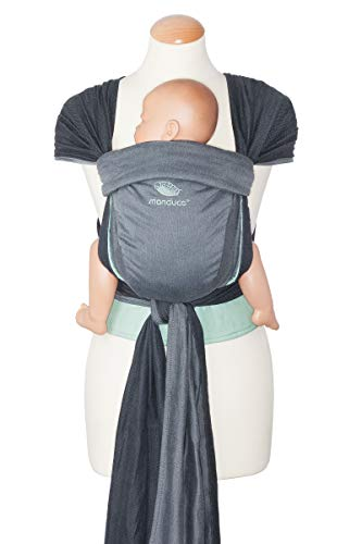 manduca Twist Baby Carrier > Grijs-Munt < Baby Carrier en Sling voor pasgeborenen & Baby's I Organisch Katoen Ik geweven Wrap Conversie I Zachte taille riem Ik kan worden gebruikt vanaf de geboorte (Grijs & Groen)
