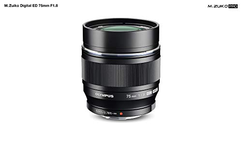 Olympus M.Zuiko - Objetivo digital ED 75 mm F1.8, longitud focal fija rápida, apto para todas las cámaras MFT (modelos olympus OM - D & Pen, serie G de Panasonic G), negro