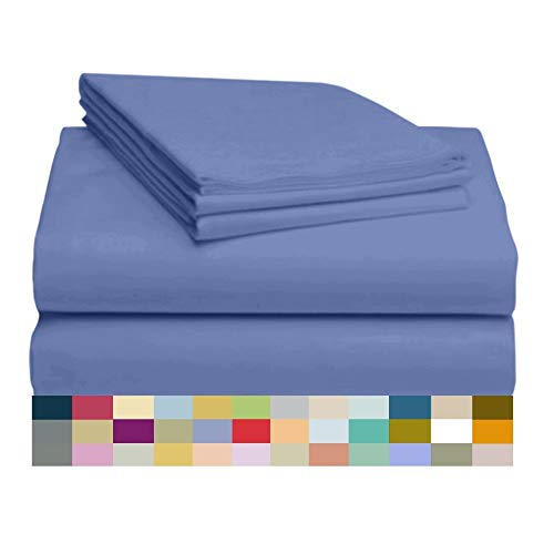 LuxClub 4 PC Sheet Set Bamboo Sheets Deep Pockets 18' Eco Friendly Wrinkle Free Sheets Hypoallergenic Anti-Bacteria Machine Washable Hotel Bedding Silky Soft - Violet Blue Twin