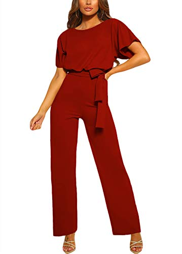 Happy Sailed Damen Langarm O-Ausschnitt Elegant Lang Jumpsuit Overall Hosenanzug Playsuit Romper S-XL, Rot, X-Large (EU48-50)