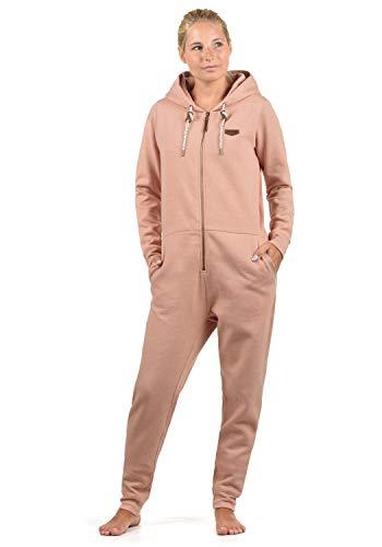 DESIRES OVA Damen Jumpsuit Overall Einteiler Aus Sweatmaterial Mit Kapuze, Größe:M, Farbe:Ma. Rose M (4203M)