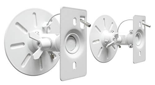 DRALL INSTRUMENTS 2 Stück Universal Wandhalterungen für Lautsprecher Boxen bis 15 kg - neigbar schwenkbar drehbar - Boxenhalterung für Deckenmontage Wandmontage Befestigung - weiss weiß Modell: BS9W
