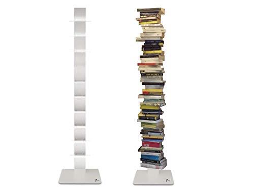 Flo.Mar Libreria a colonna verticale bianca altezza 155 cm 10 Ripiani Libreria moderna di Flo.Mar Design
