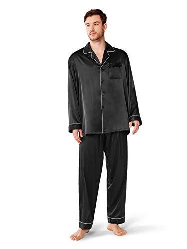 SIORO Schlafanzug Herren Lang,Satin Pyjama Nachtwäsche mit Knopf für Männer,Schwarz