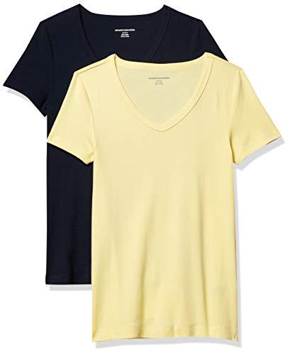Amazon Essentials Damen fashion-t-shirts 2-pack Slim-fit Short-sleeve V-neck T-shirt, Gelb / marineblau, Small (36-38)