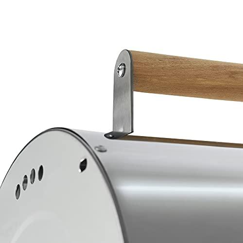 31HRkaZyqwS. SL500  - TecTake Edelstahl BBQ Grill mit großer Doppelgrillfläche Holzkohlegrill Grilltonne Silber