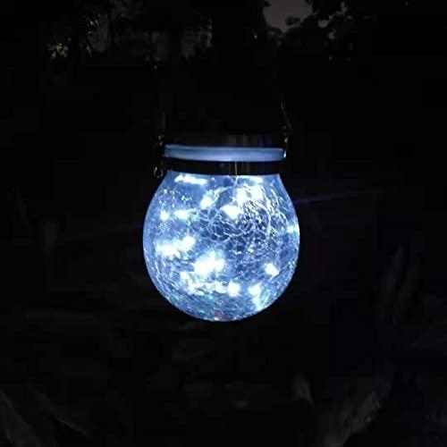 GUOGUOSM Lampada da notte impermeabile per esterni IP65 Luce solare crepitante a sfera 20 LED String Wishing Lighting Paralume in vetro Decorazione LED Candela elettronica Luci a sospensione Luce (2 p