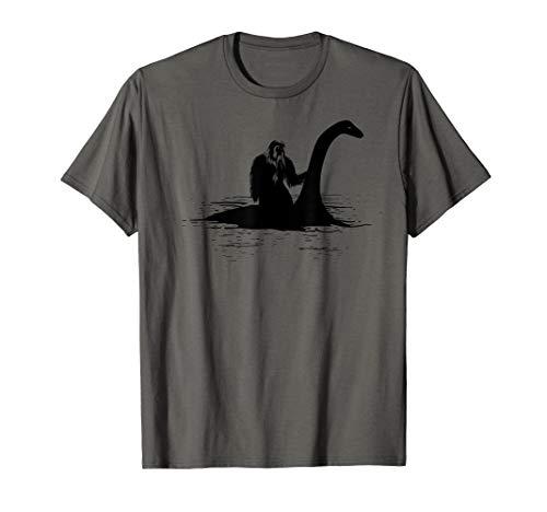 Bigfoot Riding Loch Ness Monster Cute Sasquatch Gift T-Shirt